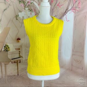 Vince Camuto Yellow Ribbed Knit sleeveless Sweater